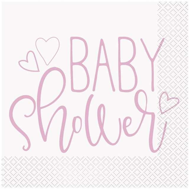 "Serwetki ""Baby Shower - Różowe Serce"", UNIQUE, 33 cm, 16 szt"