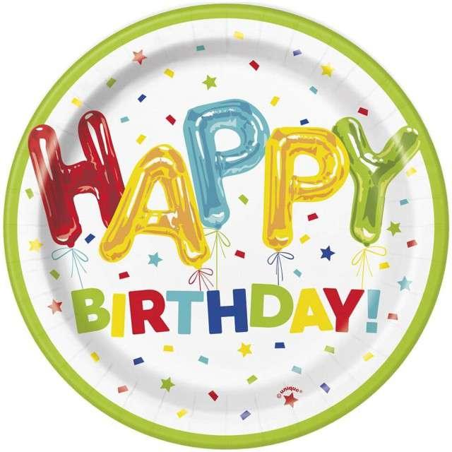 """Talerzyki papierowe """"Happy Birthday"""", UNIQUE, 18 cm, 8 szt"""