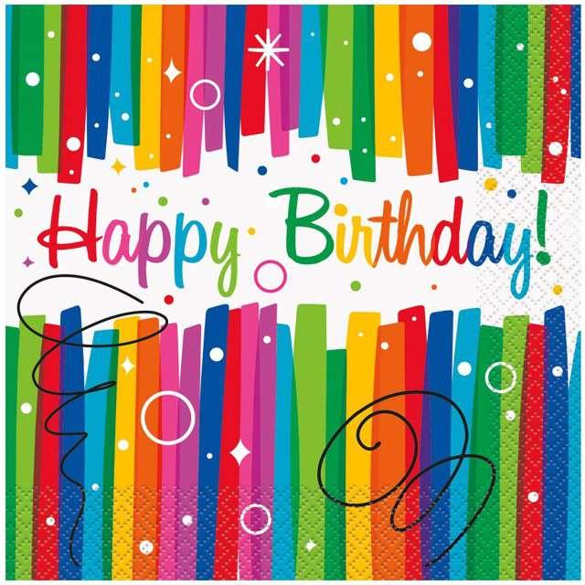 "Serwetki papierowe ""Happy Birthday"", UNIQUE, 33 cm, 16 szt"