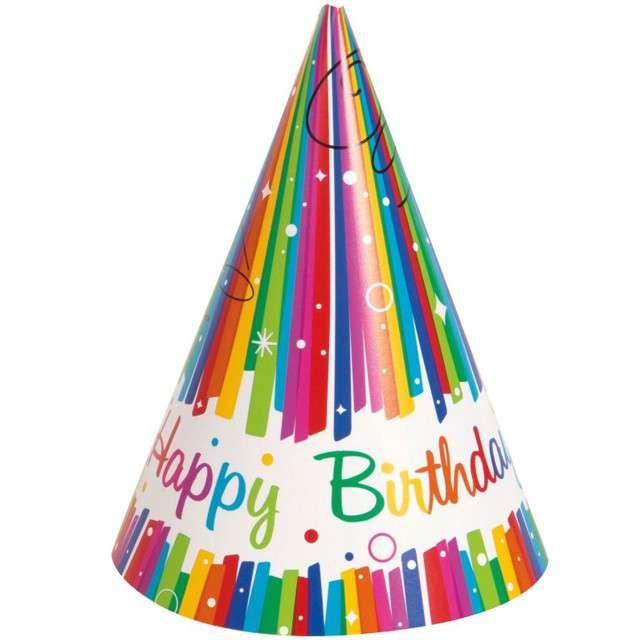 """Czapeczki papierowe """"Happy Birthday"""", UNIQUE, 8 szt"""