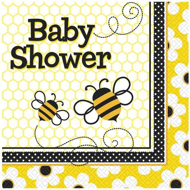 """Serwetki papierowe """"Baby Shower - Pszczółki"""", UNIQUE, 33 cm, 16 szt"""