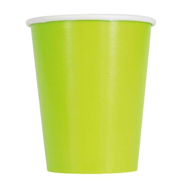 """Kubeczki papierowe """"Classic"""", zielony neon, UNIQUE, 270 ml, 14 szt"""