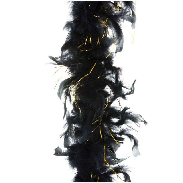 """Boa """"Double Long Lameta"""", czarno-złote, FunnyFashion, 45 g, 200 cm"""