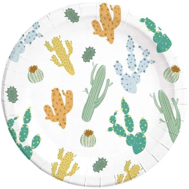 """Talerzyki papierowe """"Kaktus"""", PROCOS, 23 cm, 8 szt"""