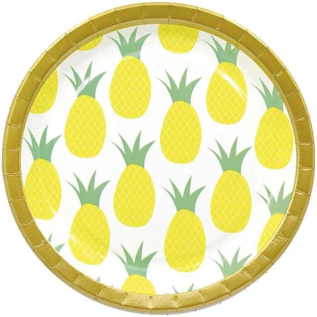 """Talerzyki papierowe """"Ananas"""", PROCOS, 23 cm, 8 szt"""