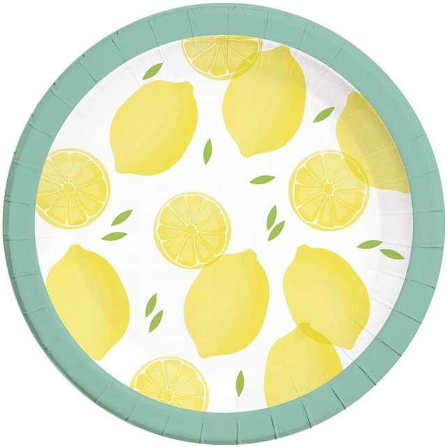 """Talerzyki papierowe """"Cytryny"""", PROCOS, 23 cm, 8 szt"""