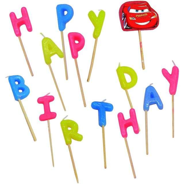 """Świeczki na tort """"Cars - Happy Birthday"""", PROCOS, 14 szt"""