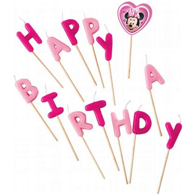 """Świeczki na tort """"Minnie - Happy Birthday"""", PROCOS, 14 szt"""