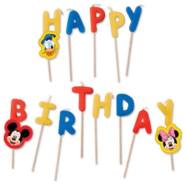 """Świeczki na tort """"Mickey - Happy Birthday"""", PROCOS, 13 szt"""
