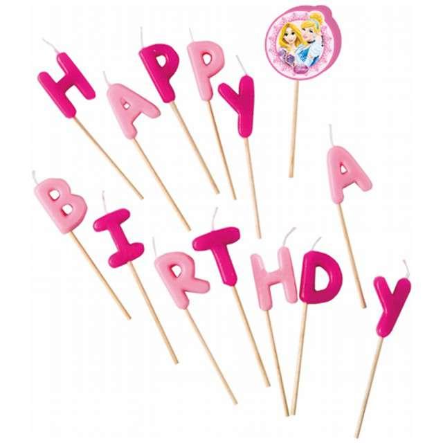"""Świeczki na tort """"Princess - Happy Birthday"""", PROCOS, 14 szt"""
