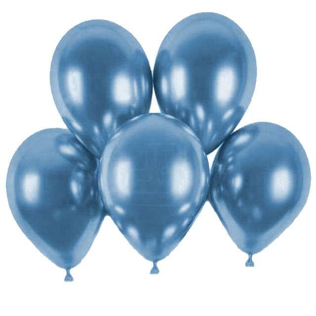 """Balony """"Shiny"""", niebieski chrom, Gemar, 13"""", 5 szt"""