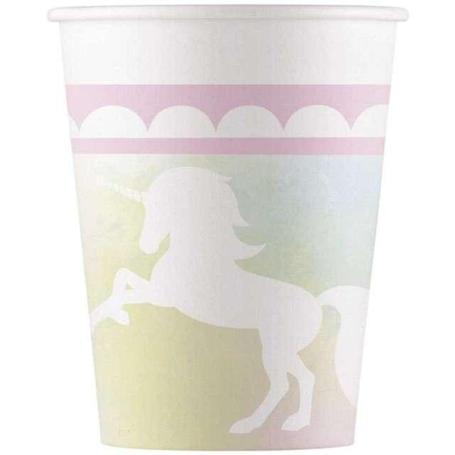 """Kubeczki papierowe """"Jednorożec - Belive in unicorn"""", PROCOS, 200 ml, 8 szt"""