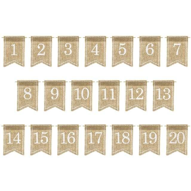 """Dekoracja """"Numery na stół - jutowe"""", PartyDeco, 20 szt"""