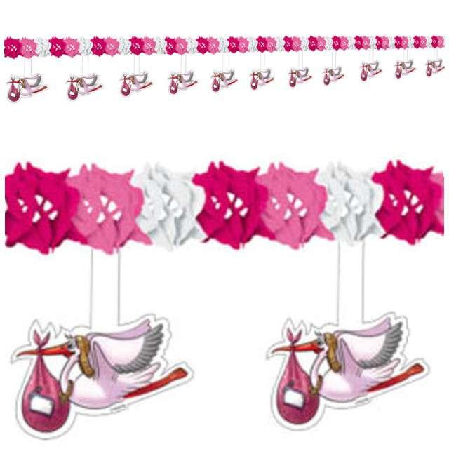 "Girlanda ""Bocian - Baby Shower"", różowa, FOLAT, 400 cm"