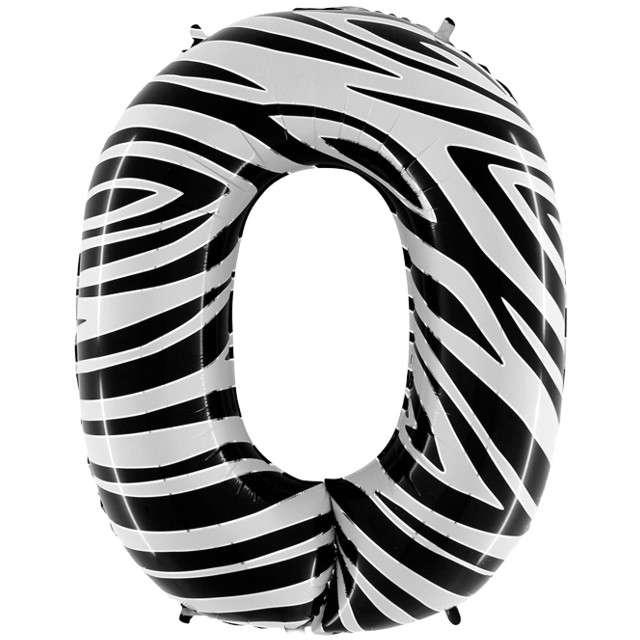 "Balon foliowy cyfra 0, 40"", GRABO, zebra"