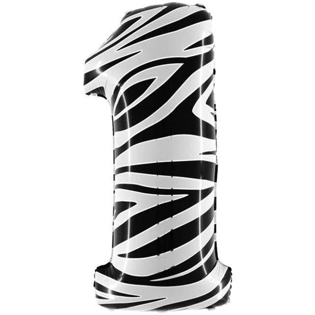 "Balon foliowy cyfra 1, 40"", GRABO, zebra"