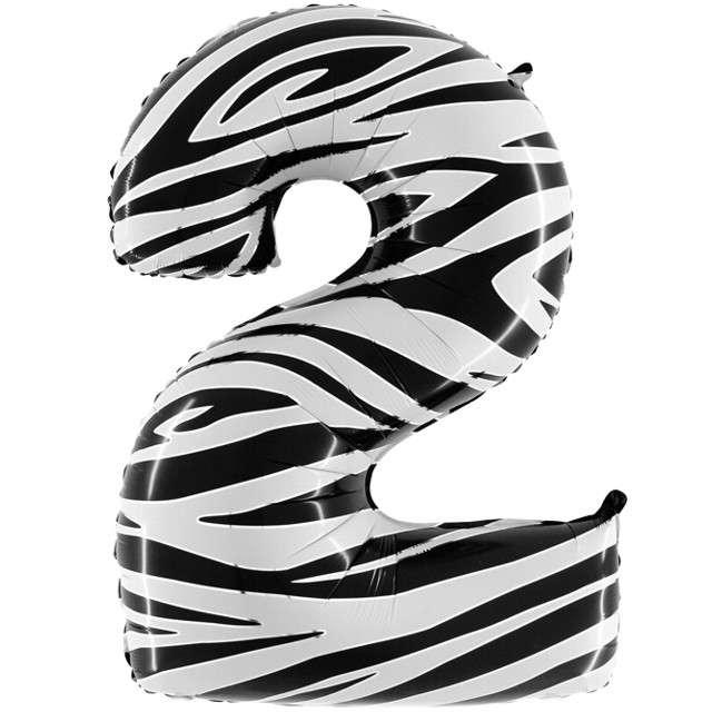 "Balon foliowy cyfra 2, 40"", GRABO, zebra"