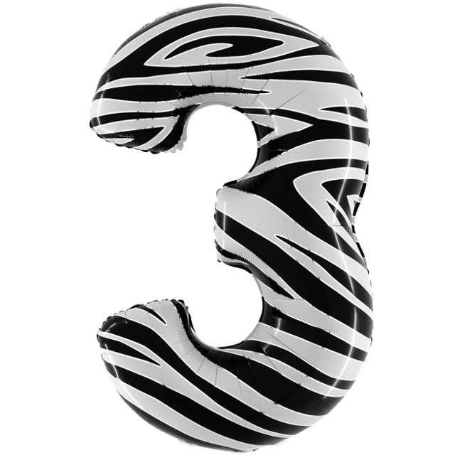 "Balon foliowy cyfra 3, 40"", GRABO, zebra"