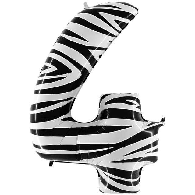 "Balon foliowy cyfra 4, 40"", GRABO, zebra"