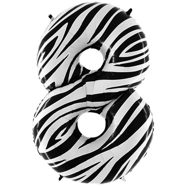 "Balon foliowy cyfra 8, 40"", GRABO, zebra"