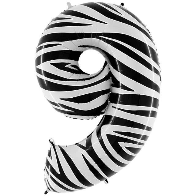 "Balon foliowy cyfra 9, 40"", GRABO, zebra"