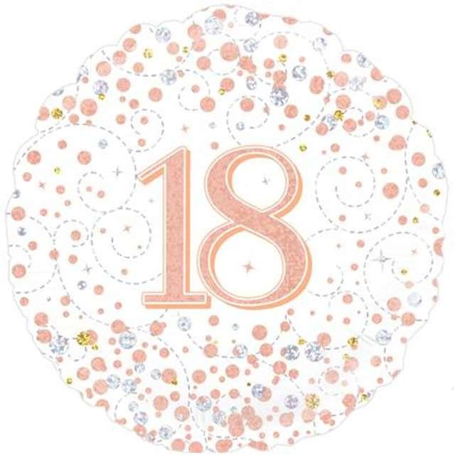 Balon foliowy 18 Urodziny - White OAKTREE różowo-złoty 18 CIR