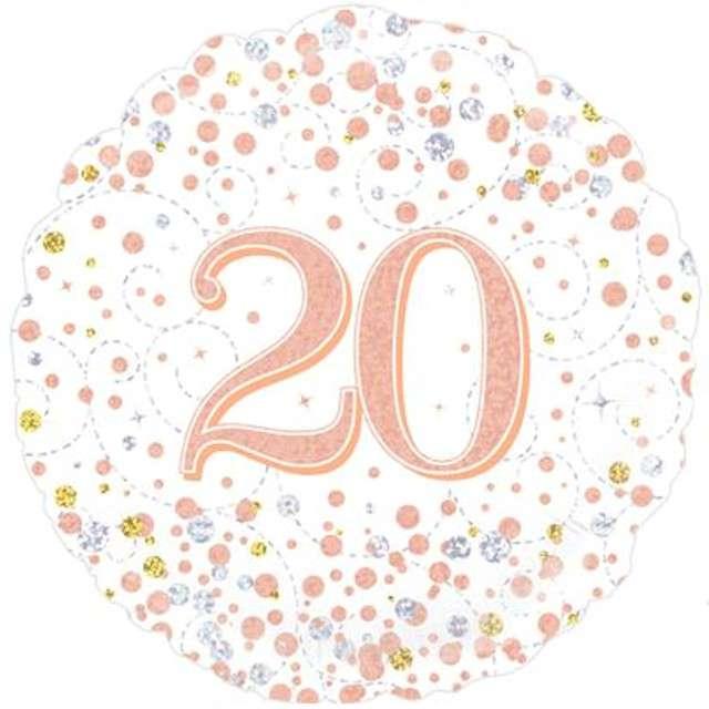 Balon foliowy 20 Urodziny - White OAKTREE różowo-złoty 18 CIR