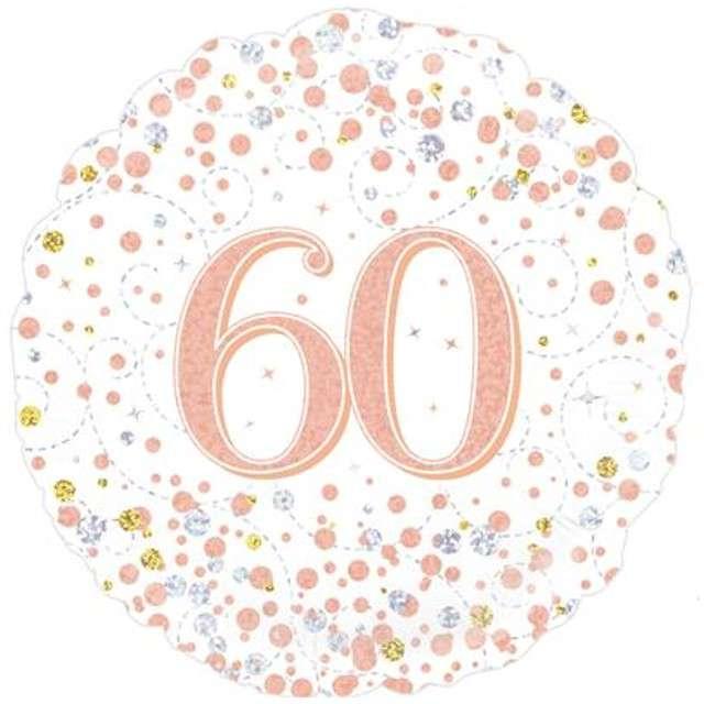Balon foliowy 60 Urodziny - White OAKTREE różowo-złoty 18 CIR