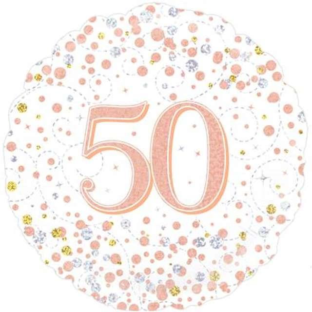 Balon foliowy 50 Urodziny - White OAKTREE różowo-złoty 18 CIR