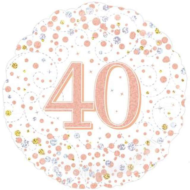 """Balon foliowy """"40 Urodziny - White"""", OAKTREE, różowo-złoty, 18"""" CIR"""