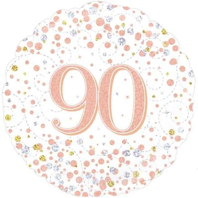 """Balon foliowy """"90 Urodziny - White"""", OAKTREE, różowo-złoty, 18"""" CIR"""