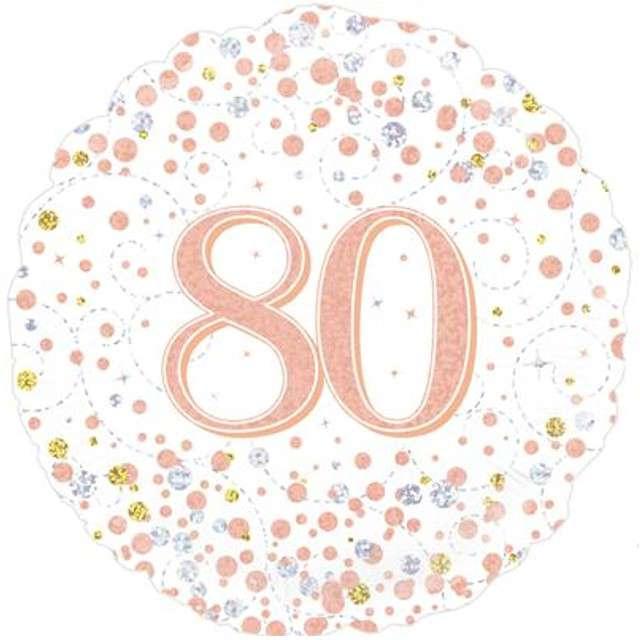 """Balon foliowy """"80 Urodziny - White"""", OAKTREE, różowo-złoty, 18"""" CIR"""