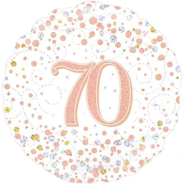 """Balon foliowy """"70 Urodziny - White"""", OAKTREE, różowo-złoty, 18"""" CIR"""
