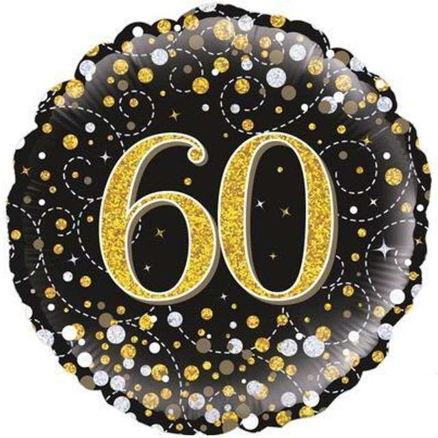 """Balon foliowy """"60 Urodziny - czarny """", OAKTREE, złoty, 18"""" CIR"""