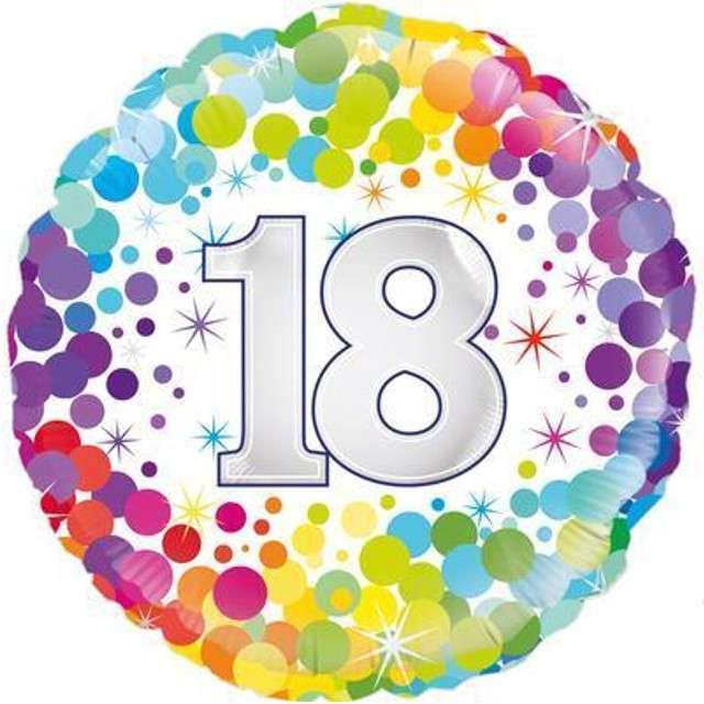 """Balon foliowy """"18 Urodziny - Confetti"""", OAKTREE, mix, 18"""" CIR"""