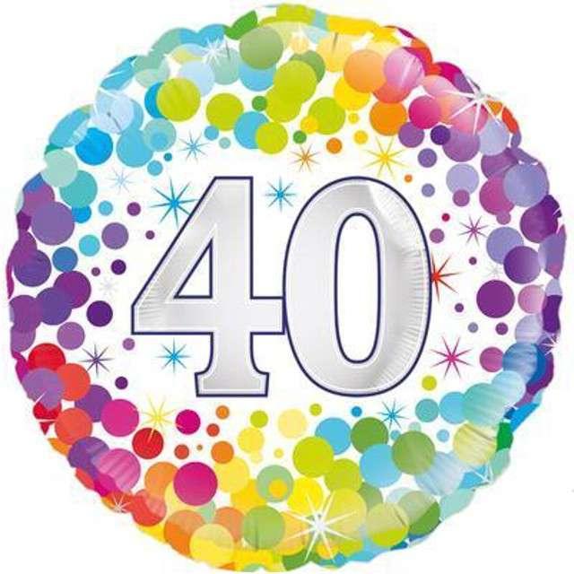 """Balon foliowy """"40 Urodziny - Confetti"""", OAKTREE, mix, 18"""" CIR"""