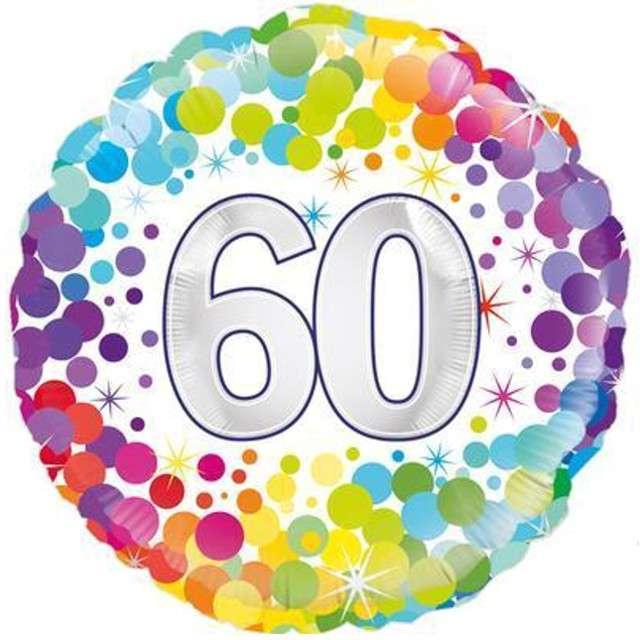 """Balon foliowy """"60 Urodziny - Confetti"""", OAKTREE, mix, 18"""" CIR"""