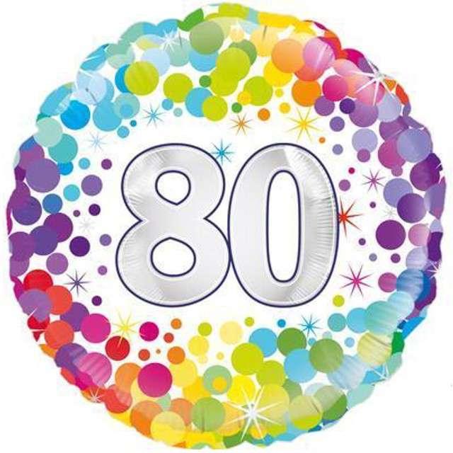 """Balon foliowy """"80 Urodziny - Confetti"""", OAKTREE, mix, 18"""" CIR"""