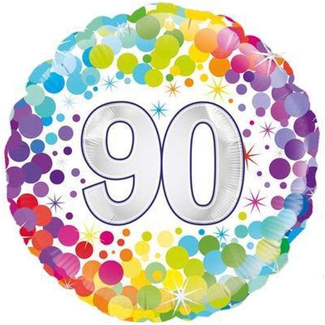 """Balon foliowy """"90 Urodziny - Confetti"""", OAKTREE, mix, 18"""" CIR"""