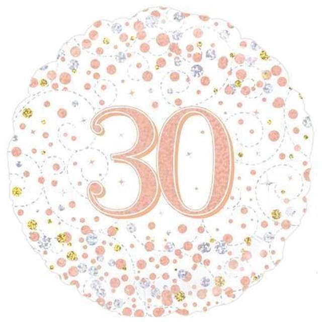 """Balon foliowy """"30 Urodziny - White"""", OAKTREE, różowo-złoty, 18"""" CIR"""