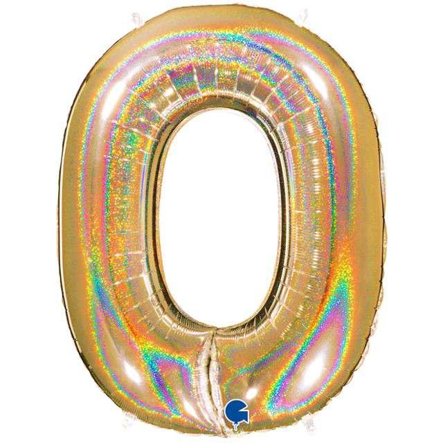 """Balon foliowy cyfra 0, 40"""", GRABO, holograficzny złoty"""