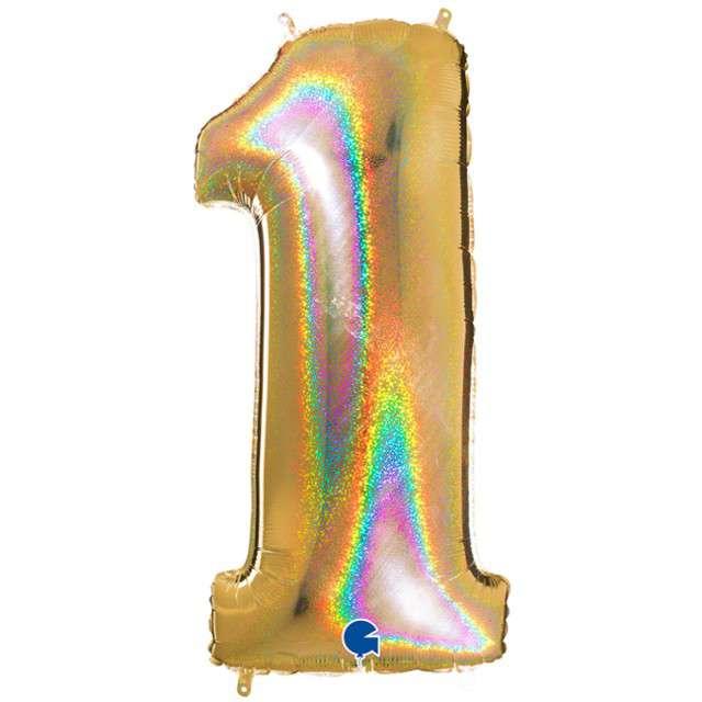 """Balon foliowy cyfra 1, 40"""", GRABO, holograficzny złoty"""