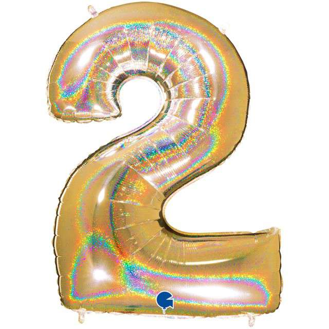 """Balon foliowy cyfra 2, 40"""", GRABO, holograficzny złoty"""