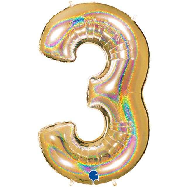 """Balon foliowy cyfra 3, 40"""", GRABO, holograficzny złoty"""