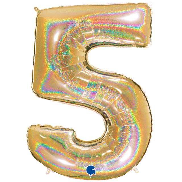 """Balon foliowy cyfra 5, 40"""", GRABO, holograficzny złoty"""