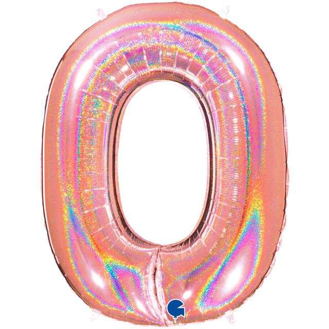 """Balon foliowy cyfra 0, 40"""", GRABO, holograficzny różowo-złoty"""