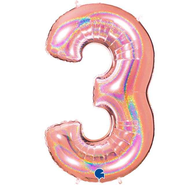 """Balon foliowy cyfra 3, 40"""", GRABO, holograficzny różowo-złoty"""