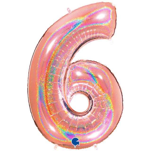 """Balon foliowy cyfra 6, 40"""", GRABO, holograficzny różowo-złoty"""