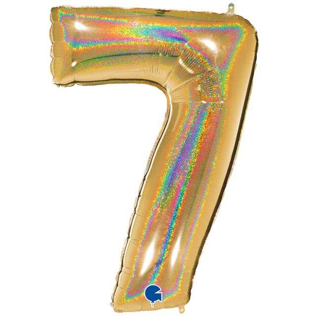 """Balon foliowy cyfra 7, 40"""", GRABO, holograficzny złoty"""