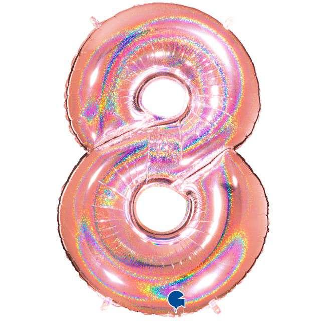 """Balon foliowy cyfra 8, 40"""", GRABO, holograficzny różowo-złoty"""